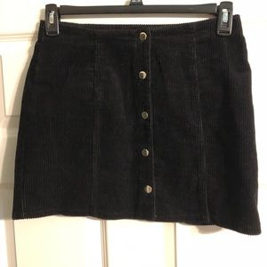 Black Corduroy Button-up Skirt